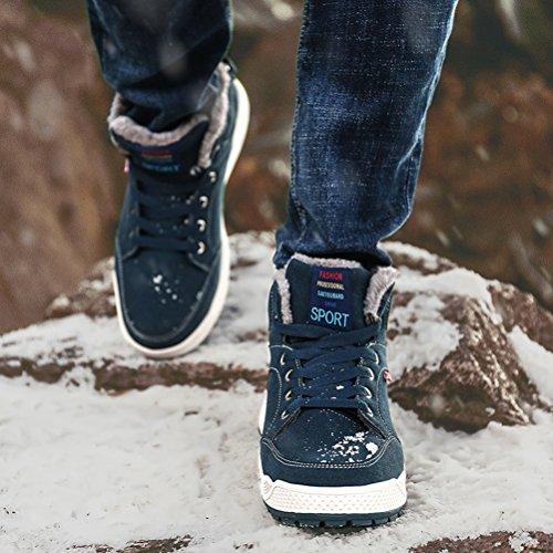 AFFINEST Uomo Scarpe Invernali con Rivestimento Caldo Caviglia Stivale Moda Sneaker Outdoor Trekking Antiscivolo e Resistente all'usura Verde