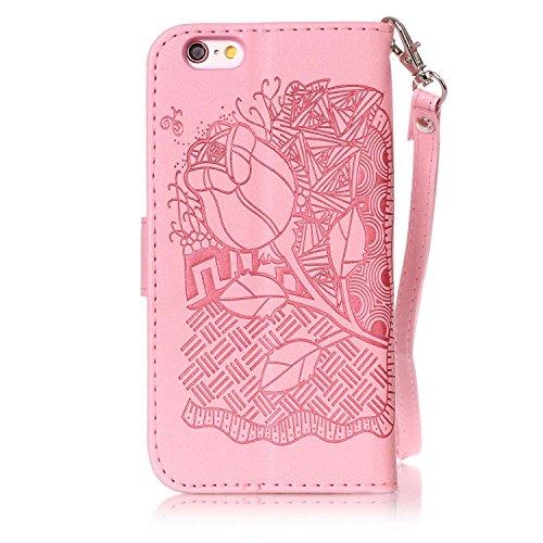 Hülle für iPhone 6S Plus, Tasche für iPhone 6 Plus, Case Cover für iPhone 6 Plus, ISAKEN Blume Schmetterling Muster Folio PU Leder Flip Cover Brieftasche Geldbörse Wallet Case Ledertasche Handyhülle T Rose Dessin Pink