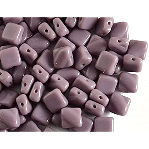 30pcs Silky Beads - Czech perle di vetro schiacciate, piazza 6x6mm con due fori in diagonale, Opaque Light Violet