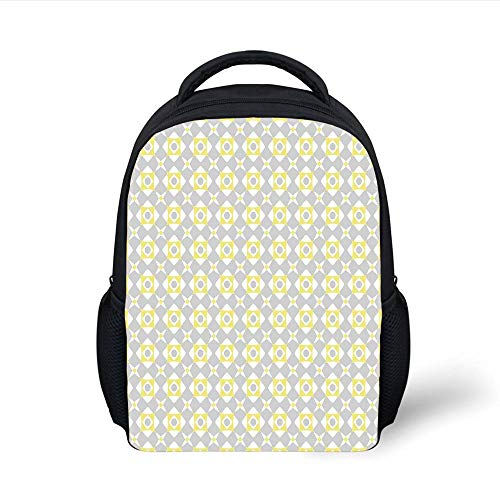 Kids School Backpack Grey and Yellow,Tile Inspired Squares Rounds in Triangles Image,Light Grey Light Yellow and White Plain Bookbag Travel Daypack