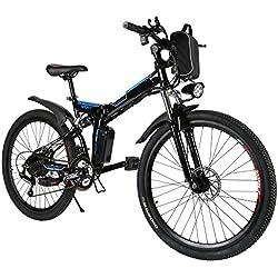 Teamyy Bicicleta Eléctrica Plegable de Montaña con la Batería de Iones de Litio 36V Ruedas de 26 Pulgadas