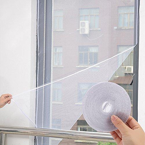 Quemu Co.,Ltd. fenêtre écran en maille filet Rideau étiquette en nylon DIY réglable garder les moustiques/mouches/Bugs extérieur – 1.5 x 2 m (200 x 149,9 cm) Velcro Incluent