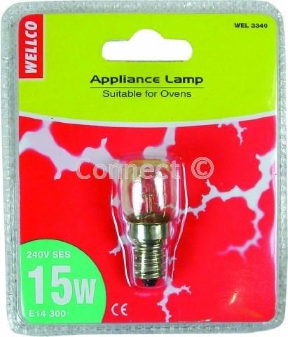 Wellco Lampe: 15Watt SES E14klar Pygmy 240V 300Grad Universal Herd Backofen Lampe (Gerät Leuchtmittel) -