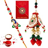 #10: Traditional Villa Handcrafted Special Work Bhaiya Bhabhi Rakhi Set Rakhi For Bhaiya Bhabhi And Rakhi For Bhaiya Bhabhi Combo And Rakhi Gifts For Brother Rakhi Set Free Shipping+Roli+Chawal+Greeting Card !!-2Bbs444