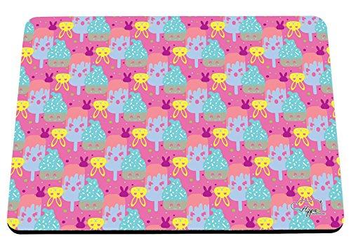 Kawaii Cupcake Kaninchen Muster bedruckt Mauspad Zubehör Schwarz Gummi Boden 240mm x 190mm x 60mm, rose, Einheitsgröße (Pop-art-make-up-kostüm)