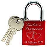 Lucchetto rosso amore con 2 chiave e incisione su fronte e retro, cuore