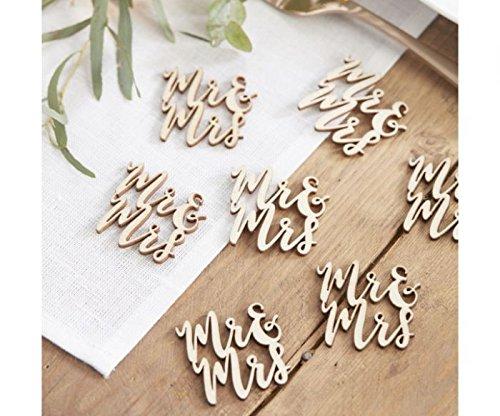 """Tischdeko, Streudeko """"Mr + Mrs"""" aus Holz"""