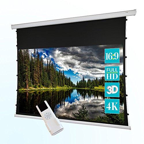 ivolum Motor Tension-Leinwand - 240 x 135 cm - 16:9 - Beamer-Leinwand mit optimierter Planlage durch Seilspannung - auch als 3D-Leinwand oder 4K-Leinwand einsetzbar