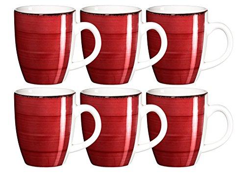 MÄSER Serie Bel Tempo, handbemalte Keramik Kaffeebecher 39 cl, im 6er-Set, in der Farbe Rot