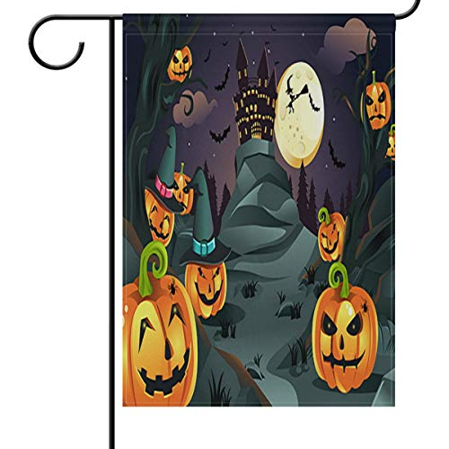 Wamika Home Dekorative Garten Flagge Halloween Hintergrund Kürbisse Spooky aus Doppelseitig House Yard Flagge, Seasonal Outdoor Flaggen bannner 30,5x 45,7cm 12x18(in) Multi