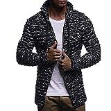 MRULIC Herren Sweater Herbst Winter Sweatshirt Hoodie Strick Jacke Einfarbig Knit Streifen Mantel Jacke Langarm Outwear(Schwarz,EU-46/CN-XL)