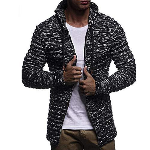 MRULIC Herren Sweater Herbst Winter Sweatshirt Hoodie Strick Jacke Einfarbig Knit Streifen Mantel Jacke Langarm Outwear(Schwarz,EU-42/CN-M)