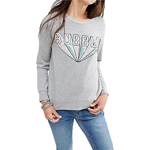Moda Paillettes ricami ricamato Bubble Letters Graphic Felpe T-Shirt Maglietta Tee Top Superiore Cime Cima Grigio