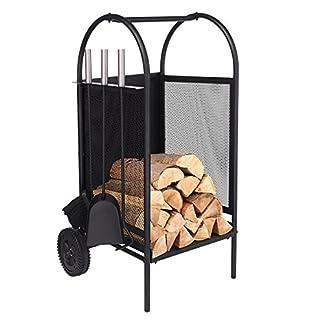 Carro de leña con ruedas, estante de leña con 3 herramientas Porta chimeneas Soportes para portaequipajes Conjunto de herramientas para chimenea de hierro forjado negro