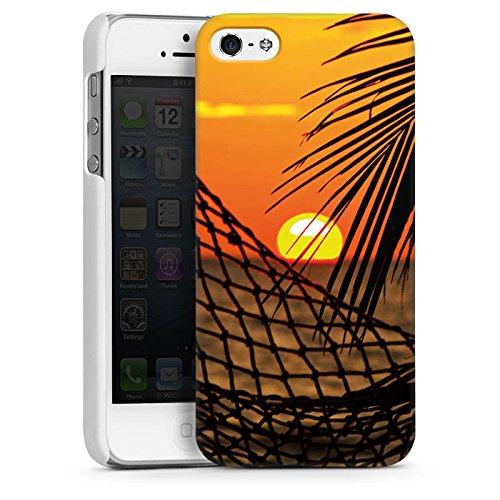 Apple iPhone 5s Housse Étui Protection Coque Coucher de soleil Plage Hamac CasDur blanc