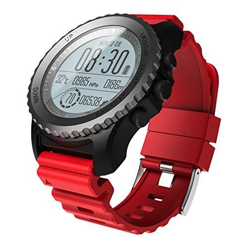 Montre Connectée, Bluetooth Smartwatch Montre Sport avec altimètre/baromètre/thermomètre et GPS, pour la Natation, la plongée en apnée, Les Jeux de Ballon, la Marche, la Course à Pied, l'escalade,Red