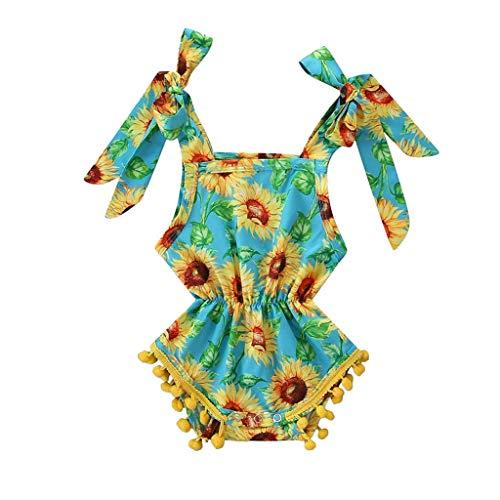 squarex Neugeborenen Kinder Baby Mädchen Kleidung Sonnenblumendruck Overall Pompon Strampler Bodysuit Outfits Sommer Niedlich Overall Freizeitspielanzug -