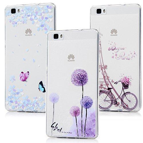 MAXFE.CO 3 x TPU Silikon Hülle für Huawei P8 Lite (2015) Handyhülle Schale Etui Protective Case Cover Rück mit Ultra Slim Skin Farbdruck Design Skin Farbe Paket 3 - Skin-paket