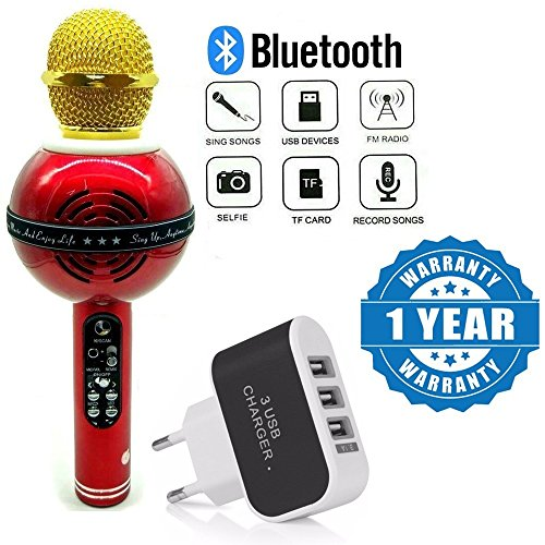 Captcha Wireless Bluetooth WS-878 Microphone MIC Recording Condenser Handheld Microphone With Speaker With 3 Ports quick Charge USB Travel Wall Charging Adapter Compatible with Xiaomi, Lenovo, Apple, Samsung, Sony, Oppo, Gionee, Vivo Smartphones (One Year Warranty)  available at amazon for Rs.1279