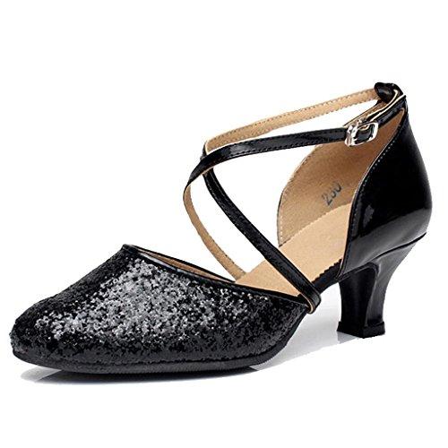 Wgwioo Damen Sequin Cross Strap Leder Hochzeit Ballsaal Latin Taogo Dance Pumps Schuhe . Black . 43
