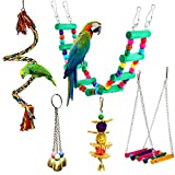 5 Pcs Bird Perches Cage Toys Hanging Bell Swing Chewing Toys Wooden Ladder Hammock for Small and Medium Parrot Birds, Cockatiels, Conures, Macaws, Finches