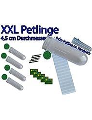 5er Set - XXL Petlinge NEU Farbe klar transparent (4,5cm x 15 cm) es passen Tauschgegenstände und kleine Coins oder Travelbugs in den Petling mit Logstreifen, Bleistift und Aufkleber