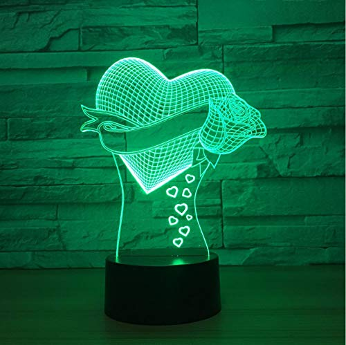 Night Light 3D Coeur Illusion La...
