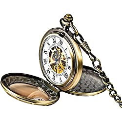 Mudder Classic Double-Hunter Windup Skeleton Steel Mens Roman Mechanical Pocket Watch