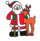 MagicGel Fensterbilder Weihnachten - Weihnachtsmann mit Rentier, Fensterdeko, Spiegeldeko