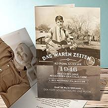 Einladungskarten Geburtstag 70er, Alte Zeiten 70 5 Karten, Vertikale  Klappkarte 105x148 Inkl. Weiße