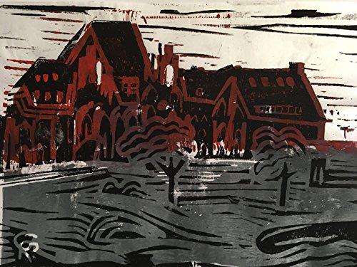 Feuerwache Bremen - Linolschnitt, von Hand einzeln gedruckt, etwa 15x20cm, Limitiert auf 10 Stück,...