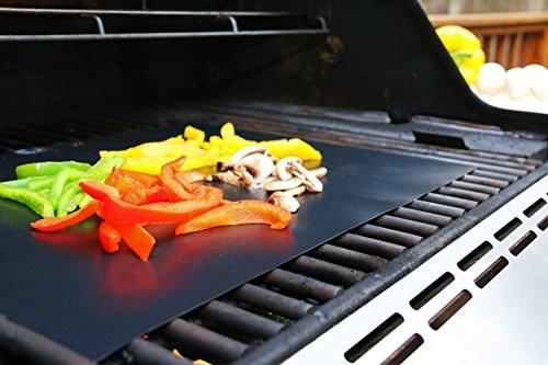 51KteH0oUKL - EXTSUD BBQ Grillmatten, 5er Set BBQ Antihaft Grill-und Backmatte Wiederverwendbar PFOA-Frei - Toll über Kohle, Gas und Weber Style Grills - Perfekt für Fleisch, Fisch und Gemüse 40x33 cm MEHRWEG