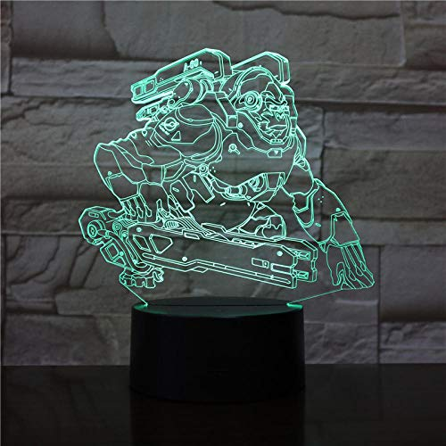 Gorilla 7 Farbe Touch 3D Tischlampe, Schlafzimmer Home Decor Lichter, Cartoon Kinder Geschenk Nachtlicht Led Usb Optical Illusion Lampen (Gorilla-batterie)