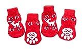 La vogue Rutschfest Hundesocken Weihnachten Hund Katze Pfotenschutz Rot (XL)