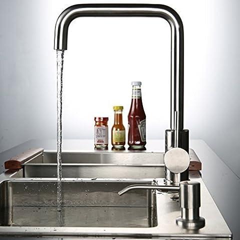 Kinse® Elegant Gebürstet Silber 7 Zeichen Küchearmatur Mischbatterie Spültischarmatur aus Edelstahl SUS304 mit ABS Bubbler Kann Wasser 30% Sparen für Küche Waschbecken