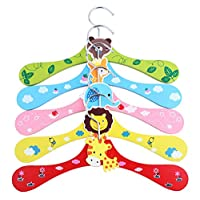Ototon Kids Baby Clothes Hanger Set Wooden Non-Slip Cartoon Animal Motifs Random Color 6 pcs