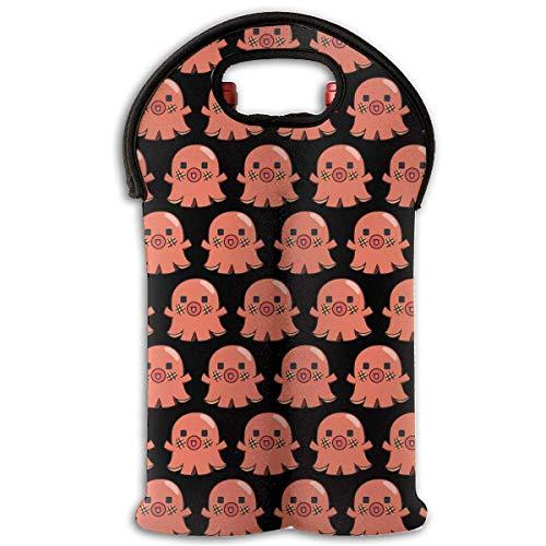 - Octopus Hot Dog Two Bottle Wine Carrier Tote Bag Neoprene Wine/Water Bottle Holder Keeps Bottles Protected