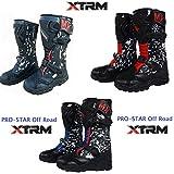 Kinder Motorradstiefel Off Road Sportstiefel XTRM Pro Star MX Quad PITBIKE ATV Bike Motocross Stiefel, Camo Blau/Camo Rot/Camo Schwarz - Blue - 39