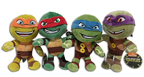 Turtles Ninja Super (Raphael + Leonardo + Michelangelo und Donatello 20cm Packung 4x Plüschtiere Kuscheltiere Ninja Turtles Super Soft Plüsch Schildkröten TMNT Teenage Mutant Half Shell Heroes Comicserie Turtler Spielzeug Figur)