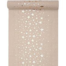 Camino de mesa Natural con estrellas Metallic 28 cm x 3 m – Navidad, ...