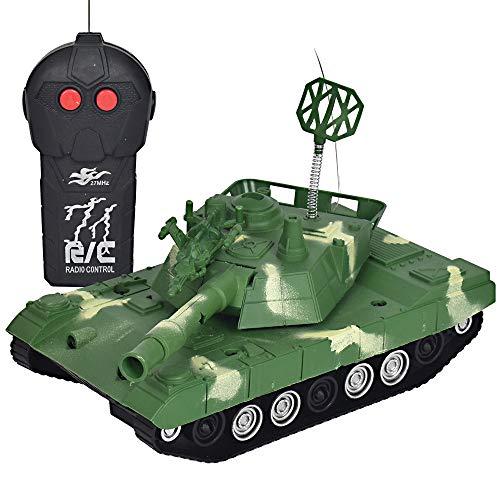 Wokee 1:16 2,4Ghz RC Tank mit Gefechtmodi 360 °Kunststoff RC Tank Modell BB Schießen,Battle Panzer mit Sound Rotierendem wenn Kanonenartillerie schießt (Grün)