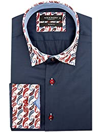 Oscar Banks Coton Cachemire Col Et Manchette Mens Impression Mode Smart  Casual Occasion Longue Manches Chemise 4983aaa8ef9
