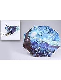 Moon boat Paraguas de Pintura al Óleo Van Gogh para Mujer, Resistente al Viento,