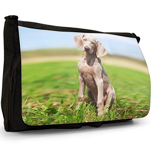 vorstehhund Grigio fantasma Weimaraner cane grande borsa a tracolla Messenger Tela Nera, scuola/Borsa Per Laptop Weimaraner Sat On Grass