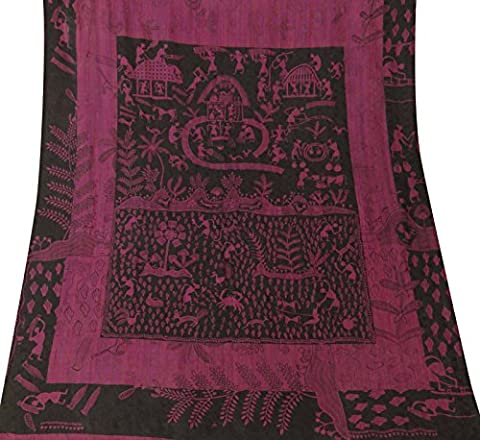 Indian Vintage-Landschaft Gedruckt reine Seide Saree Magenta Home Decor Craft Sari