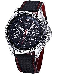 MEGIR Men's Luxury Brand Steel Case Quartz Clock Hours Genuine Leather Strap Wrist Watch (Black)