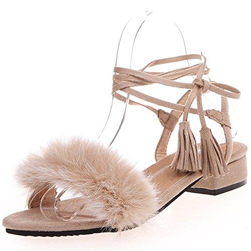 TIFIY Frauen Neue Sommer Sandelholz Troddel Verband beiläufige Plüsch Lace-Up flache Schuhe (37, Khaki) (Khaki Up Beige Lace)