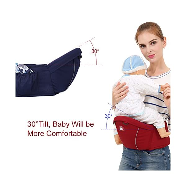 Per Fashional and Comfortable Baby Hip Seat Carrier Adjustable 0-3 Years Old Baby Carrier Baby Straps (Dark Blue) Per ✤ Soft Lining:Made of sponge lining, very comfortable for baby to sit and for mom to wear. ✤ Widen Design:The wide of the seat is about 6.3inch, baby will be more comfortable and meanwhile, mom can use less power. ✤ Adjustable Length: The length of the waistline is about 65-118cm/25.59-46.45in. 7