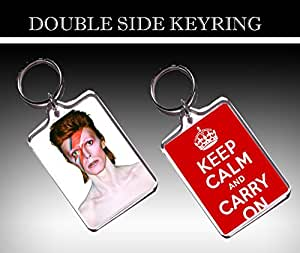 SEXY DAVID BOWIE KEEP CALM AND CARRY ON DOUBLE SIDE PORTE-CLÉS - KEYRING - 02