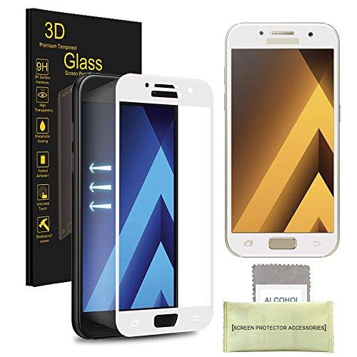 Samsung Galaxy A5 (2017) Gehärtetes Glas-Schirm-Schutz, AKPATI Glasfolie Displayschutzfolie Schutzglas 9H Härte High Definition Bubble Free Anti-Kratzer gehärtetes Glas - Weiß